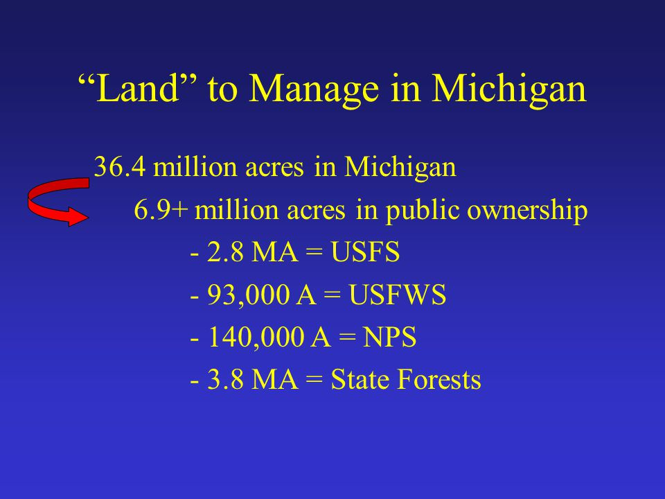 Land to Manage in Michigan 36.4 million acres in Michigan 6.9+ million acres in public ownership - 2.8 MA = USFS - 93,000 A = USFWS - 140,000 A = NPS - 3.8 MA = State Forests