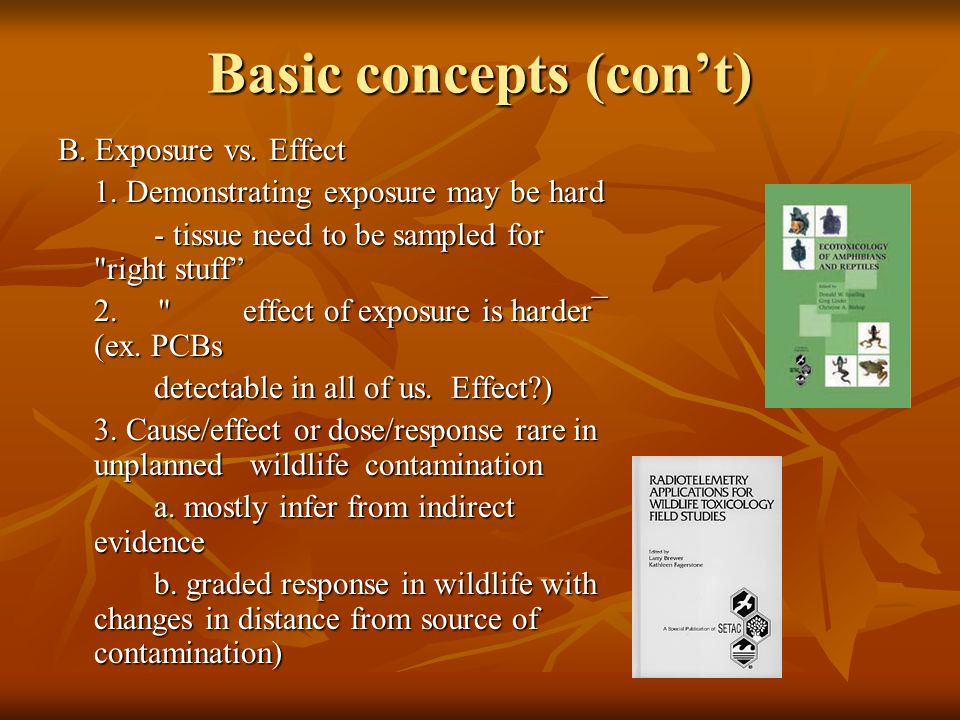 Basic concepts (con't) B. Exposure vs. Effect 1.