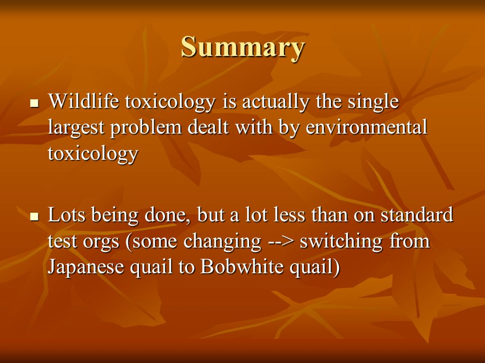 Summary Wildlife toxicology is actually the single largest problem dealt with by environmental toxicology Wildlife toxicology is actually the single largest problem dealt with by environmental toxicology Lots being done, but a lot less than on standard test orgs (some changing --> switching from Japanese quail to Bobwhite quail) Lots being done, but a lot less than on standard test orgs (some changing --> switching from Japanese quail to Bobwhite quail)