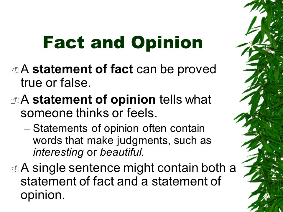 Fact and Opinion  A statement of fact can be proved true or false.  A statement of opinion tells what someone thinks or feels. –Statements of opinio