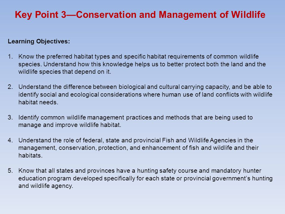 Key Point 3—Conservation and Management of Wildlife Learning Objectives: 1.Know the preferred habitat types and specific habitat requirements of commo