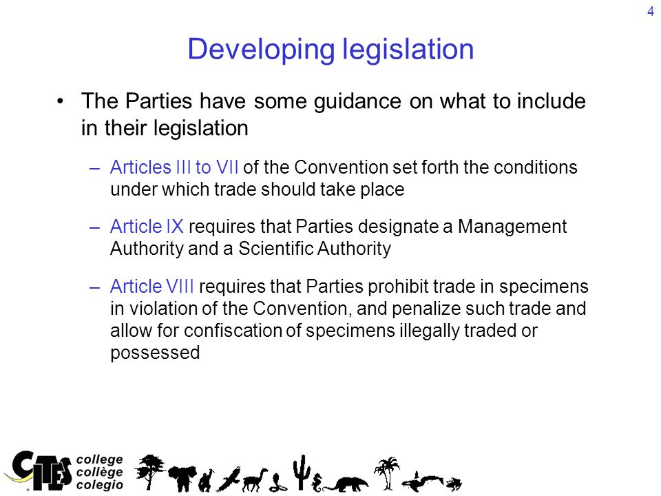4 Developing legislation The Parties have some guidance on what to include in their legislation –Articles III to VII of the Convention set forth the c