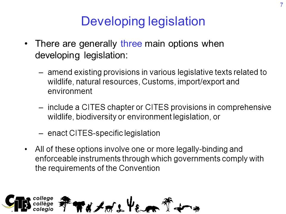 7 Developing legislation There are generally three main options when developing legislation: –amend existing provisions in various legislative texts r