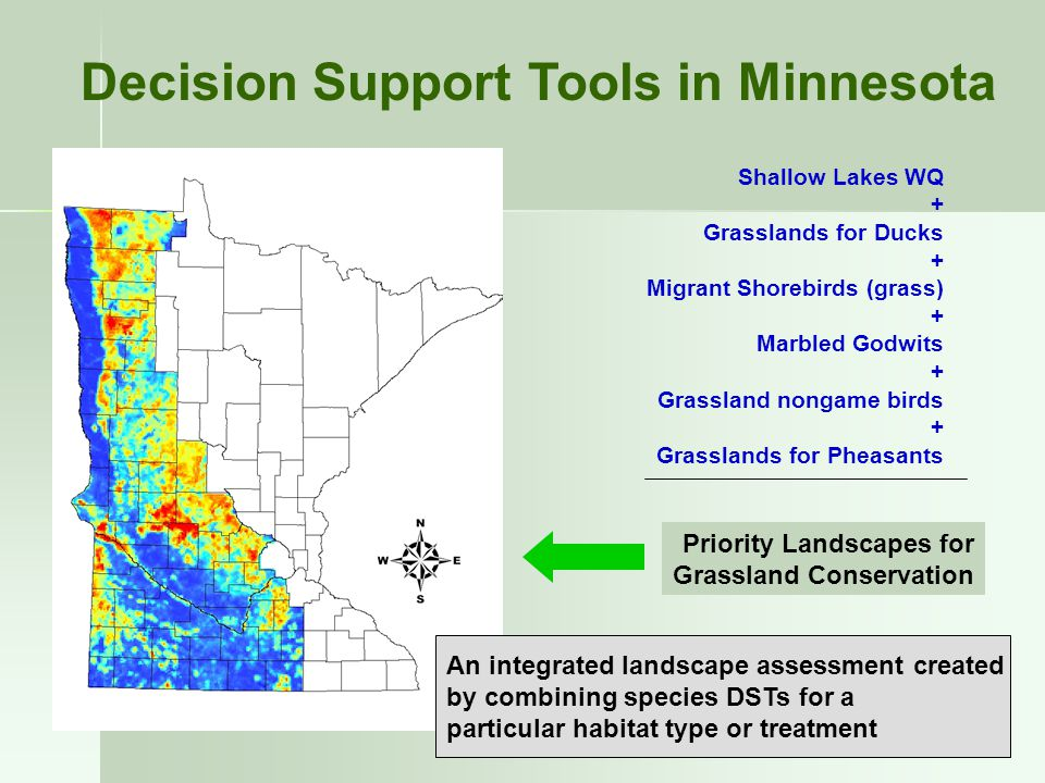 Decision Support Tools in Minnesota Shallow Lakes WQ + Grasslands for Ducks + Migrant Shorebirds (grass) + Marbled Godwits + Grassland nongame birds + Grasslands for Pheasants An integrated landscape assessment created by combining species DSTs for a particular habitat type or treatment Priority Landscapes for Grassland Conservation