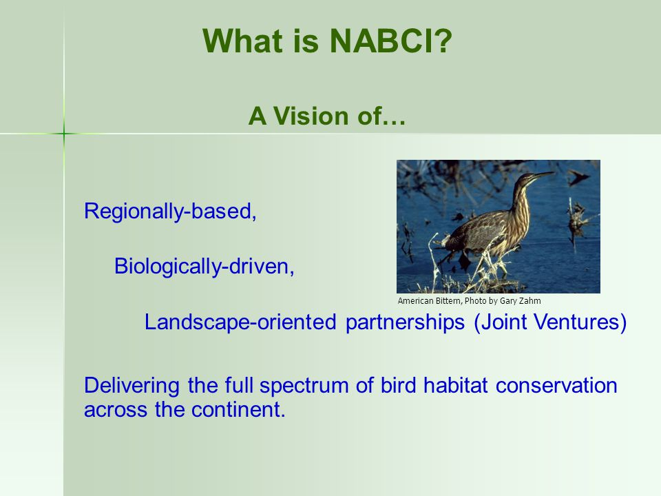 Regionally-based, Biologically-driven, Landscape-oriented partnerships (Joint Ventures) Delivering the full spectrum of bird habitat conservation across the continent.