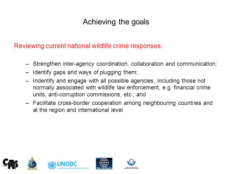 Achieving the goals Reviewing current national wildlife crime responses: –Strengthen inter-agency coordination, collaboration and communication; –Identify gaps and ways of plugging them; –Indentify and engage with all possible agencies, including those not normally associated with wildlife law enforcement, e.g.