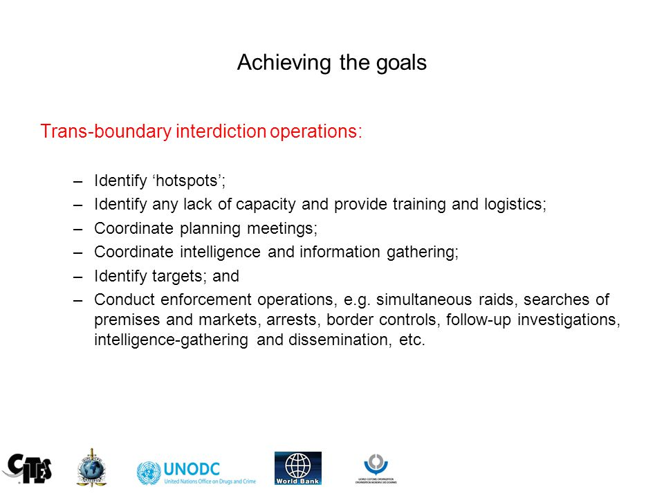 Achieving the goals Trans-boundary interdiction operations: –Identify 'hotspots'; –Identify any lack of capacity and provide training and logistics; –Coordinate planning meetings; –Coordinate intelligence and information gathering; –Identify targets; and –Conduct enforcement operations, e.g.
