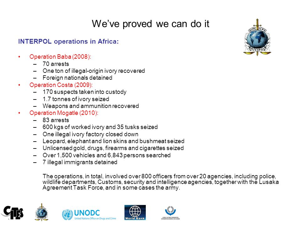 We've proved we can do it INTERPOL operations in Africa: Operation Baba (2008): –70 arrests –One ton of illegal-origin ivory recovered –Foreign nationals detained Operation Costa (2009): –170 suspects taken into custody –1.7 tonnes of ivory seized –Weapons and ammunition recovered Operation Mogatle (2010): –83 arrests –600 kgs of worked ivory and 35 tusks seized –One illegal ivory factory closed down –Leopard, elephant and lion skins and bushmeat seized –Unlicensed gold, drugs, firearms and cigarettes seized –Over 1,500 vehicles and 6,843 persons searched –7 illegal immigrants detained The operations, in total, involved over 800 officers from over 20 agencies, including police, wildlife departments, Customs, security and intelligence agencies, together with the Lusaka Agreement Task Force, and in some cases the army.