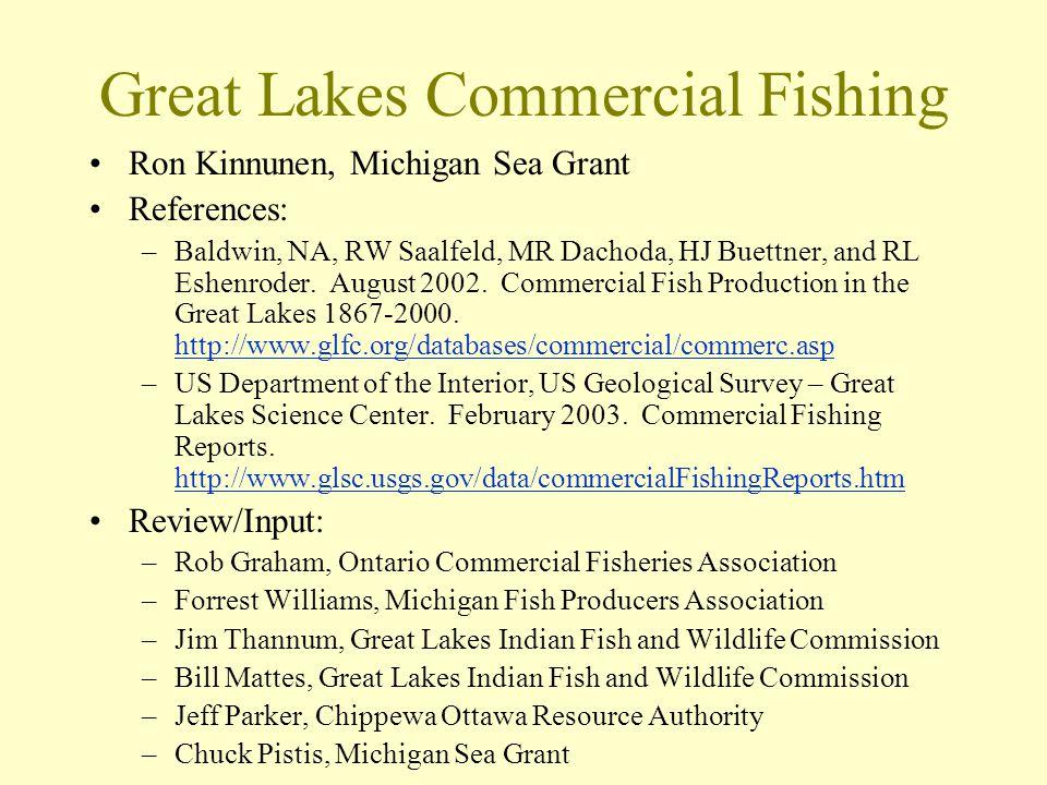 Great Lakes Commercial Fishing Ron Kinnunen, Michigan Sea Grant References: –Baldwin, NA, RW Saalfeld, MR Dachoda, HJ Buettner, and RL Eshenroder.
