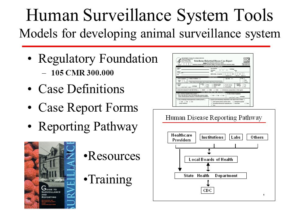 Human Surveillance System Tools Models for developing animal surveillance system Regulatory Foundation –105 CMR 300.000 Case Definitions Case Report Forms Reporting Pathway Resources Training