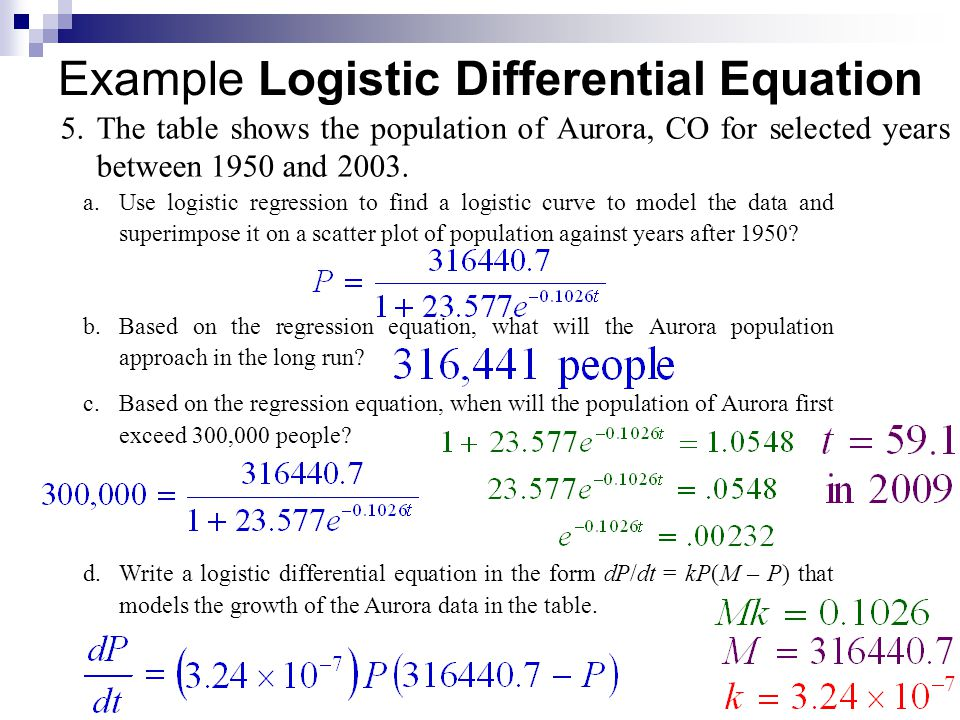 The General Logistic Formula The solution of the general logistic differential equation is where A is a constant determined by an appropriate initial condition.