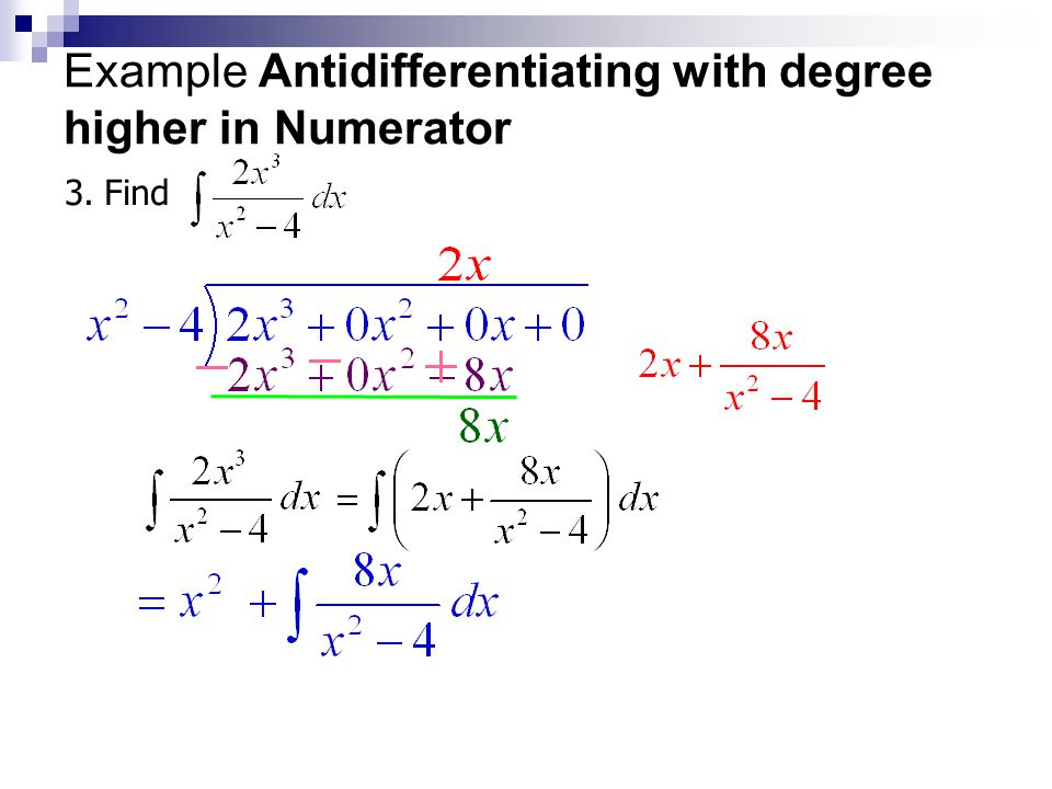 Example Antidifferentiating with Partial Fractions 2.Find