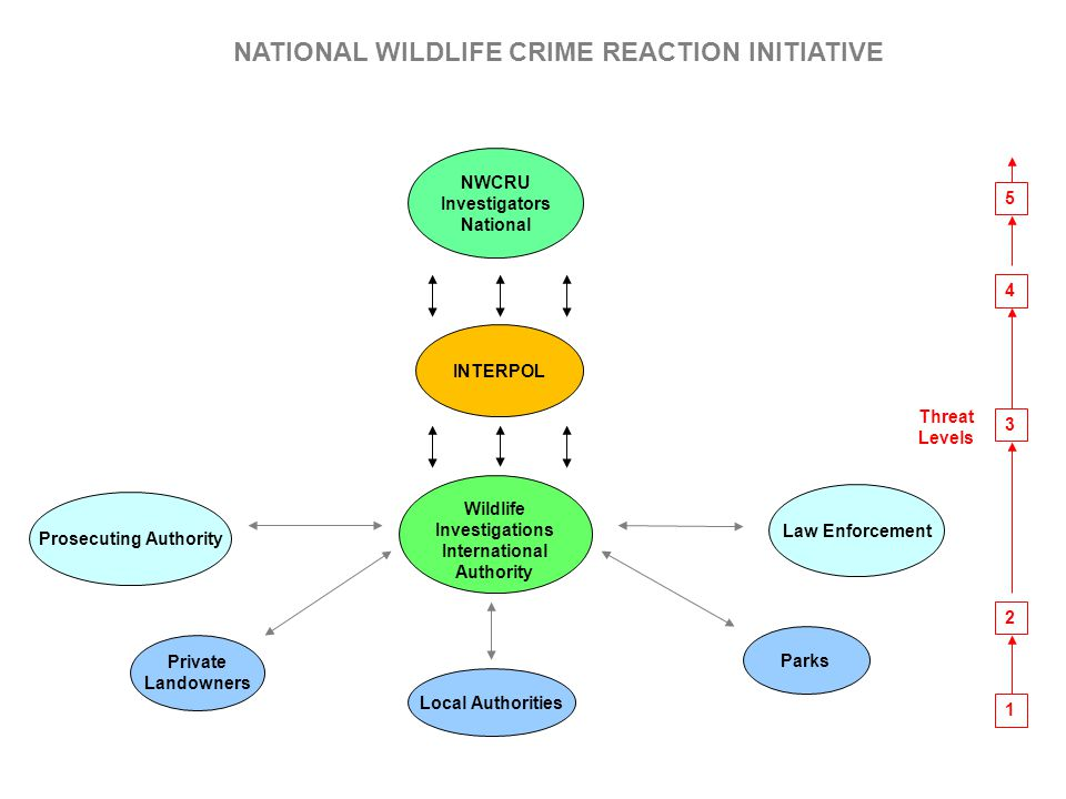 Parks Law Enforcement Prosecuting Authority Private Landowners Local Authorities NWCRU Investigators National 1 2 3 4 5 Threat Levels INTERPOL Wildlif