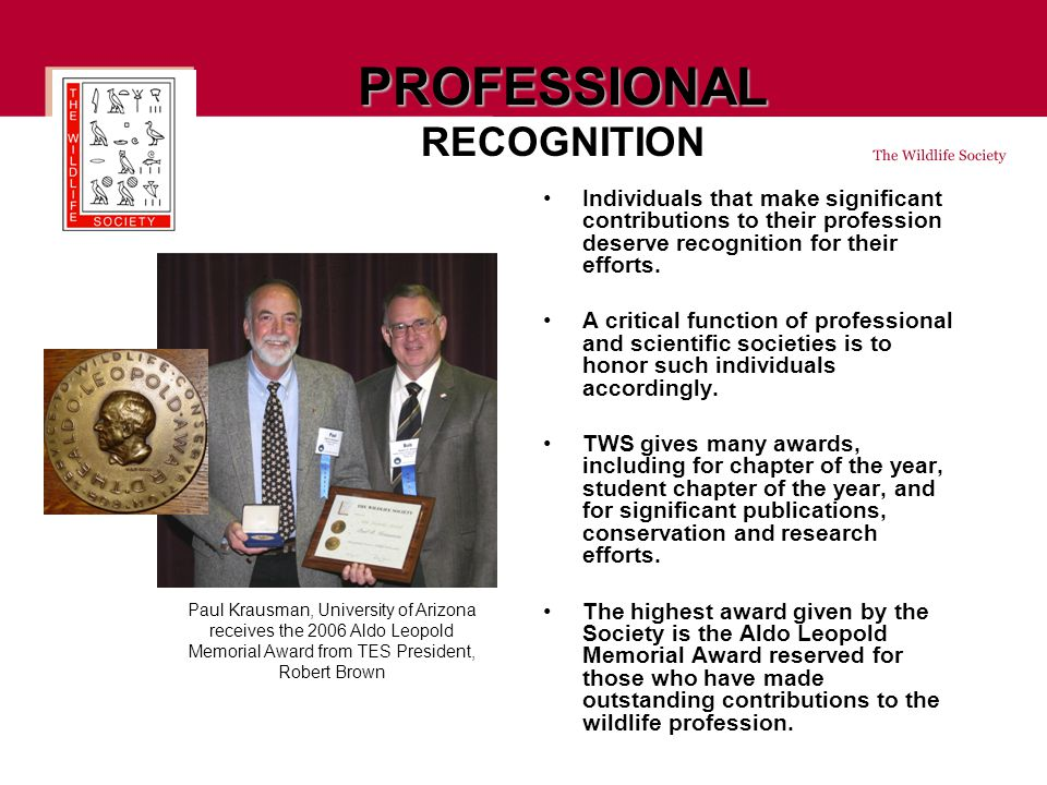 PROFESSIONAL PROFESSIONAL RECOGNITION Individuals that make significant contributions to their profession deserve recognition for their efforts.