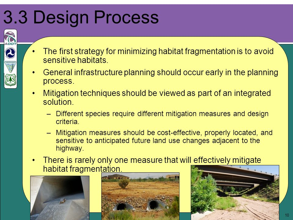 10 The first strategy for minimizing habitat fragmentation is to avoid sensitive habitats. General infrastructure planning should occur early in the p
