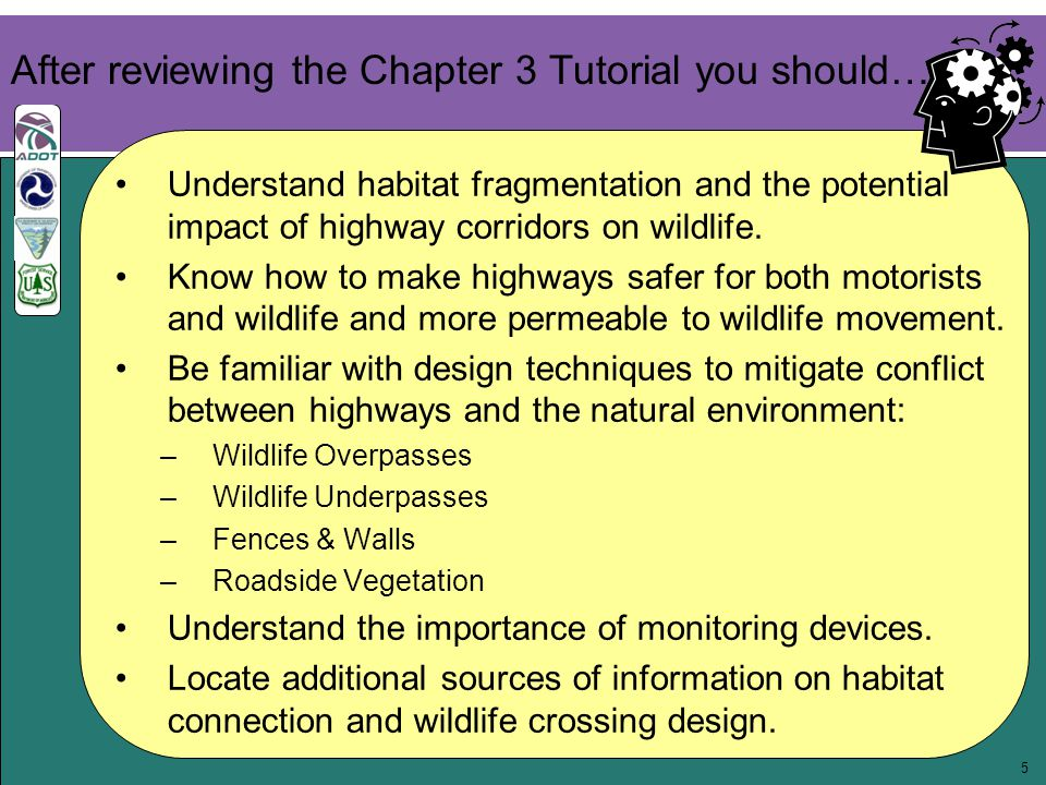 16 3.6 Additional Resources Eco-logical: An Ecosystem Approach to Developing Infrastructure Projects http://environment.fhwa.dot.gov/ecological/eco_entry.asp Keeping It Simple: Easy Ways to Help Wildlife Along Roads http://www.fhwa.dot.gov/environment/wildlifeprotection/index.cfm Safe Passages http://www.wcsnorthamerica.org/ Arizona's Wildlife Linkages Assessment http://www.azdot.gov/inside_adot/OES/AZ_WildLife_Linkages/ assessment.asp Second Nature: Improving Transportation Without Putting Nature Second http://www.defenders.org/programs_and_policy/habitat_conservation/ habitat_and_highways/resources/second_nature.php?ht= Center for Environmental Excellence by AASHTO http://environment.transportation.org/