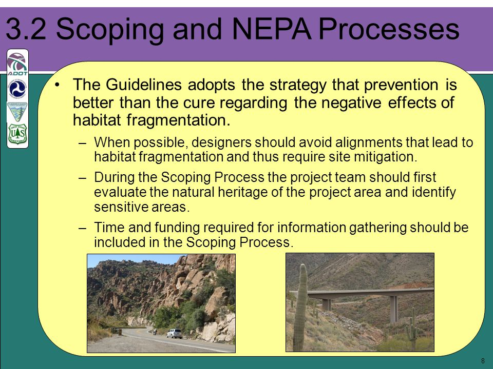9 Information gathered should include: –Habitat types and sizes –Existing wildlife corridors –Type of anticipated conflicts between wildlife and the highway corridor –Potential for effective mitigation of highway impacts –Mapping of wildlife corridors in relation to the proposed highway corridor Wildlife and conservation biologists, landscape ecologists, planners, landscape architects and road engineers all play a valuable role throughout the scoping and design process.