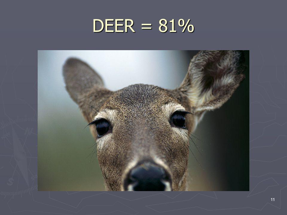 11 DEER = 81%