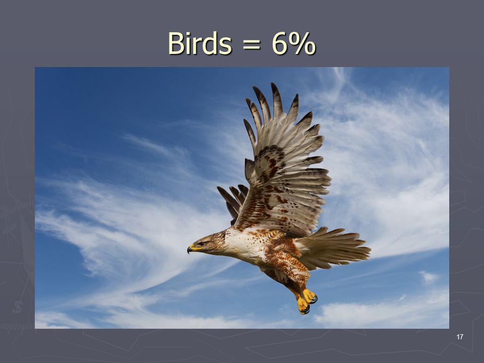 17 Birds = 6%