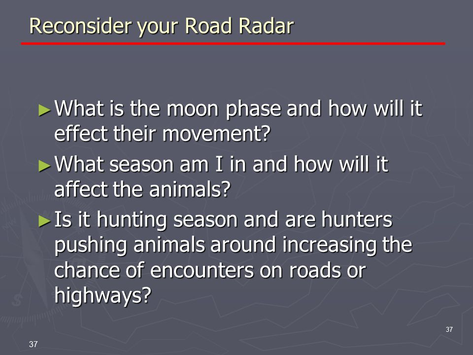 37 Reconsider your Road Radar ► What is the moon phase and how will it effect their movement.