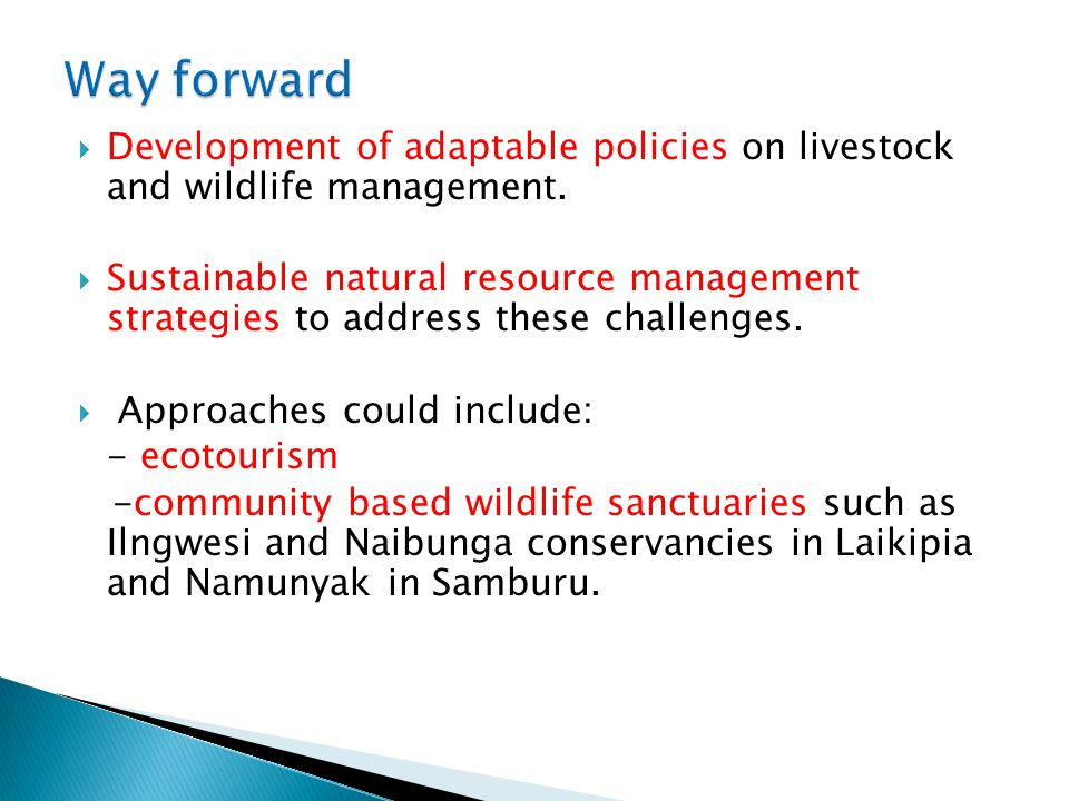  Development of adaptable policies on livestock and wildlife management.