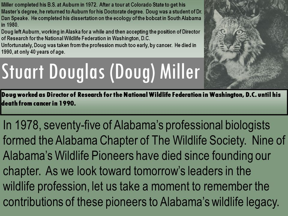 Stuart Douglas (Doug) Miller Miller completed his B.S. at Auburn in 1972. After a tour at Colorado State to get his Master's degree, he returned to Au
