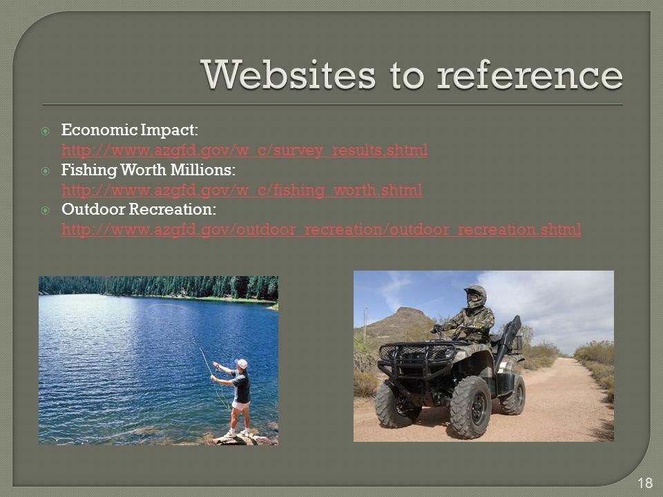  Economic Impact: http://www.azgfd.gov/w_c/survey_results.shtml  Fishing Worth Millions: http://www.azgfd.gov/w_c/fishing_worth.shtml  Outdoor Recreation: http://www.azgfd.gov/outdoor_recreation/outdoor_recreation.shtml 18