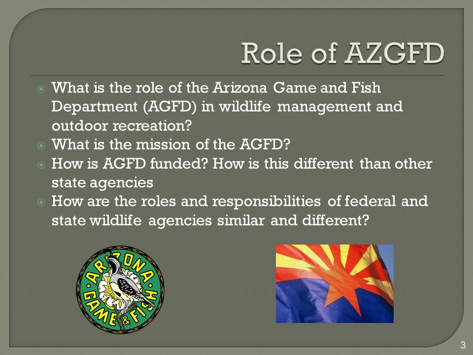  What is the role of the Arizona Game and Fish Department (AGFD) in wildlife management and outdoor recreation.