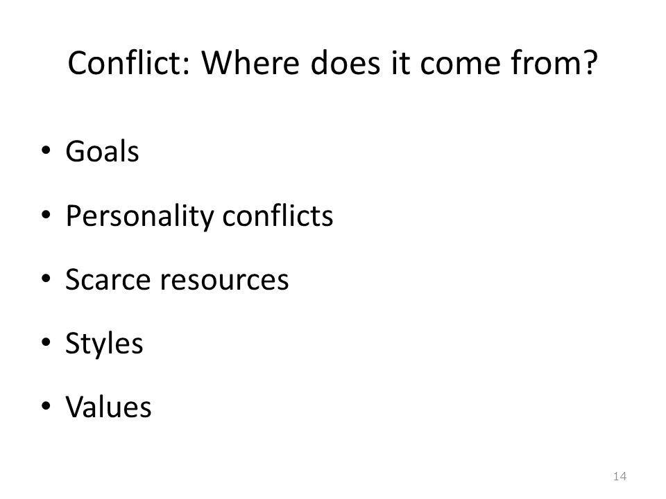 Conflict: Where does it come from Goals Personality conflicts Scarce resources Styles Values 14
