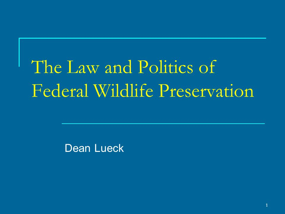 2 Introduction Until the Endangered Species Act of 1973, wildlife preservation was relatively uncontroversial.