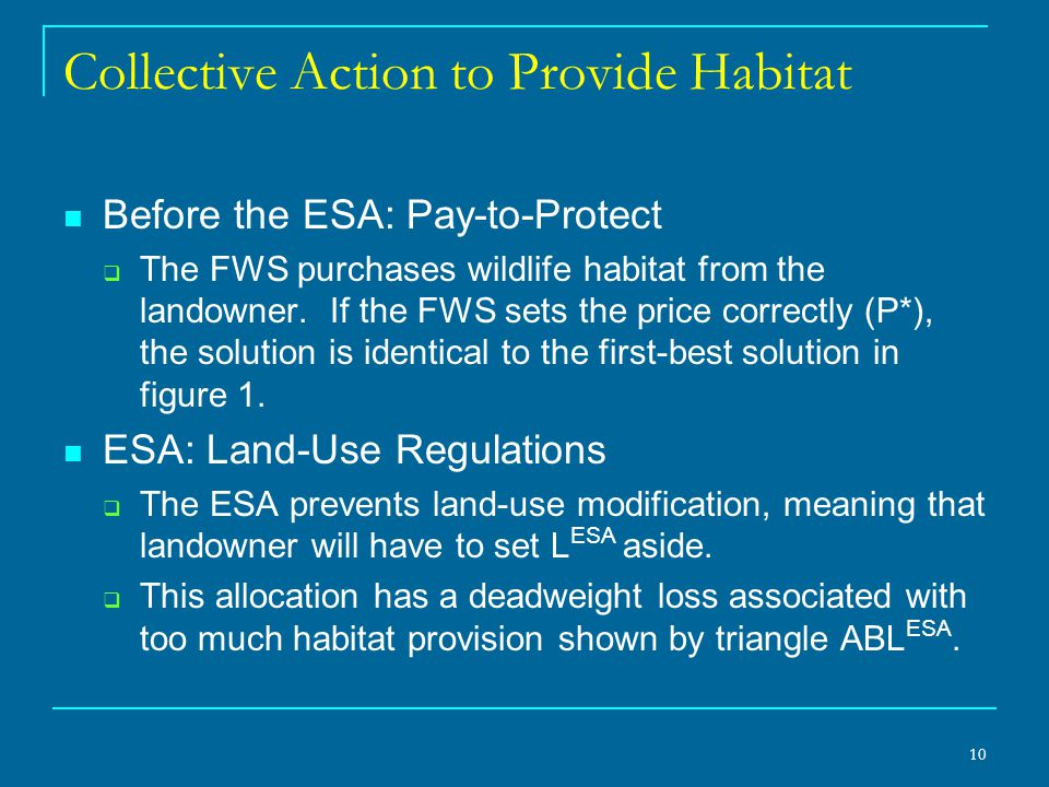 10 Collective Action to Provide Habitat Before the ESA: Pay-to-Protect  The FWS purchases wildlife habitat from the landowner.