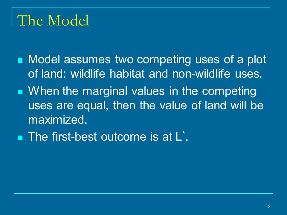 6 The Model Model assumes two competing uses of a plot of land: wildlife habitat and non-wildlife uses.