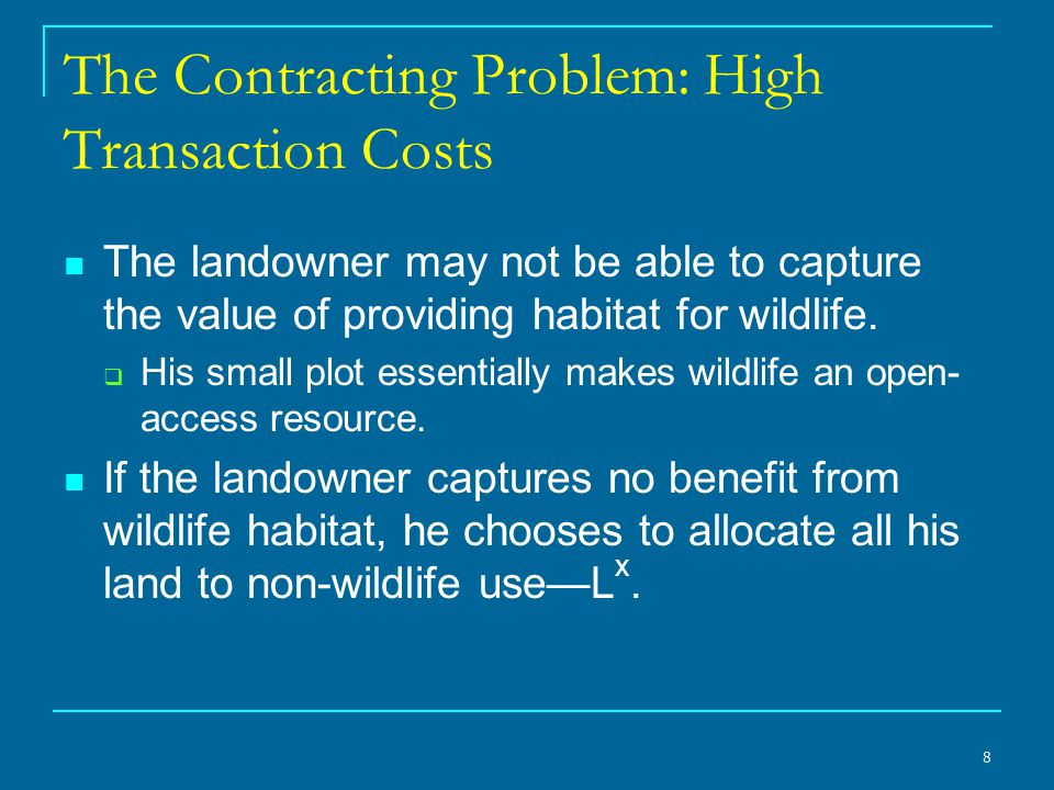 9 Too Little Wildlife Habitat The small landowner sets aside too little habitat resulting in a deadweight loss given by the triangle BCL x.