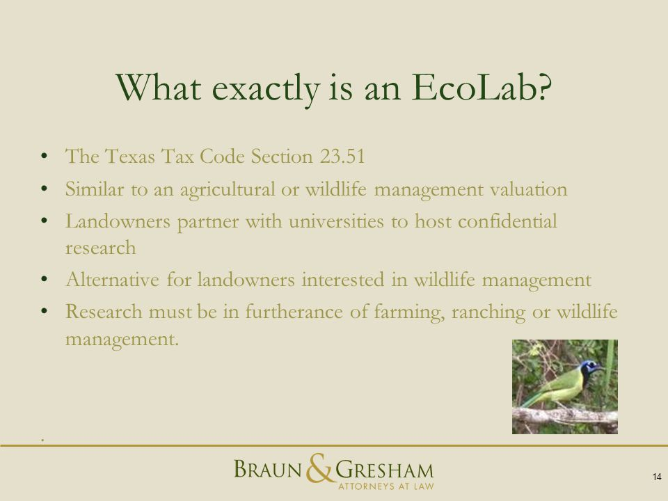 What exactly is an EcoLab? The Texas Tax Code Section 23.51 Similar to an agricultural or wildlife management valuation Landowners partner with univer
