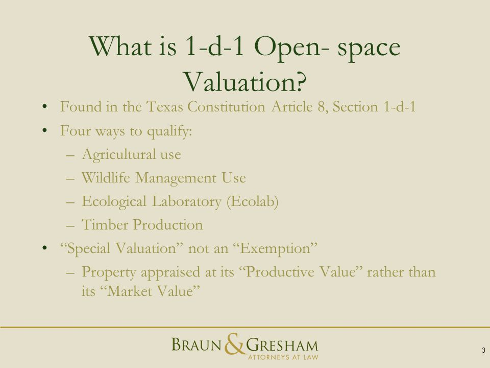 What is 1-d-1 Open- space Valuation.