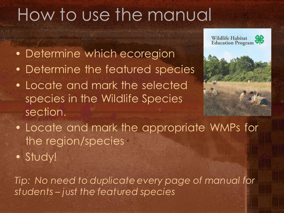 How to use the manual Determine which ecoregion Determine the featured species Locate and mark the selected species in the Wildlife Species section.