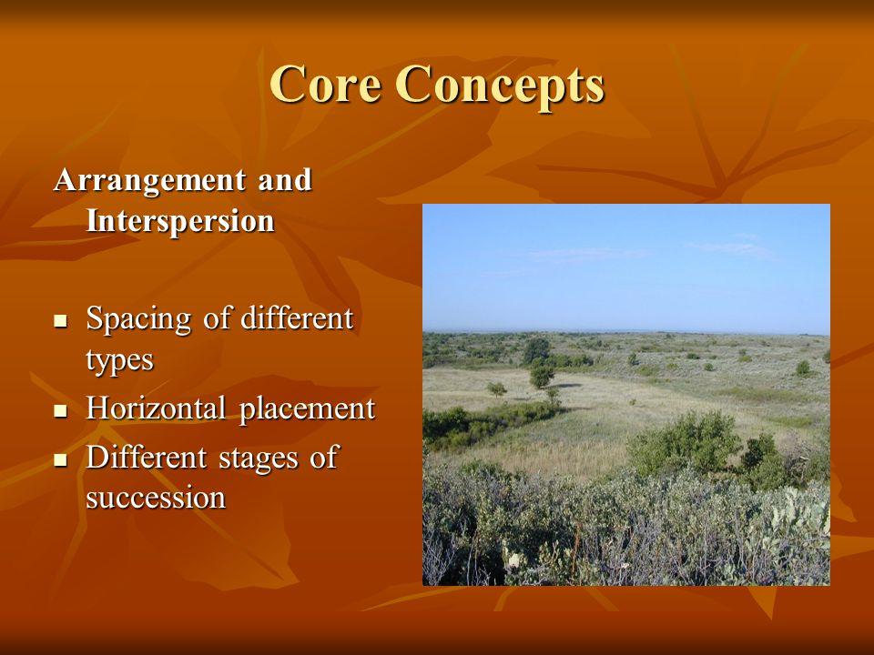 Core Concepts Arrangement and Interspersion Spacing of different types Spacing of different types Horizontal placement Horizontal placement Different stages of succession Different stages of succession