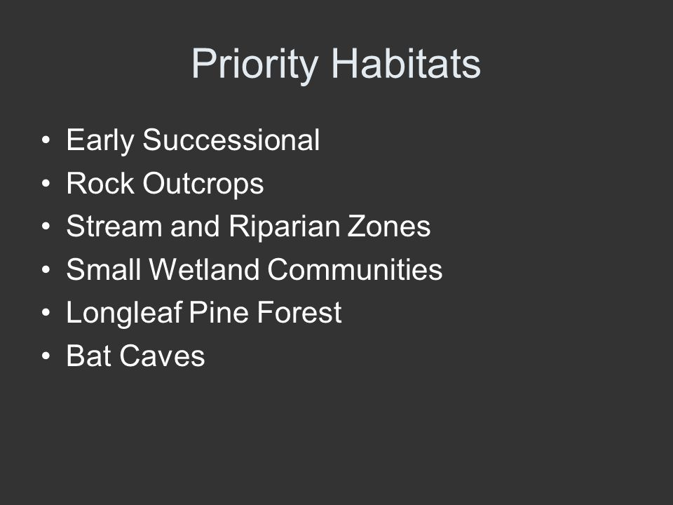 Priority Habitats Early Successional Rock Outcrops Stream and Riparian Zones Small Wetland Communities Longleaf Pine Forest Bat Caves