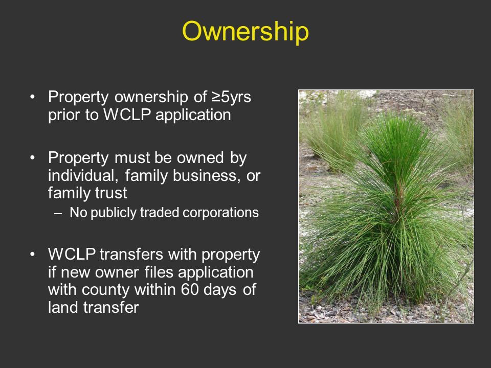 Ownership Property ownership of ≥5yrs prior to WCLP application Property must be owned by individual, family business, or family trust –No publicly traded corporations WCLP transfers with property if new owner files application with county within 60 days of land transfer