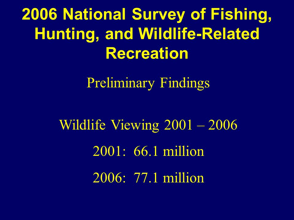 2006 National Survey of Fishing, Hunting, and Wildlife-Related Recreation Preliminary Findings Wildlife Viewing 2001 – 2006 2001: 66.1 million 2006: 77.1 million