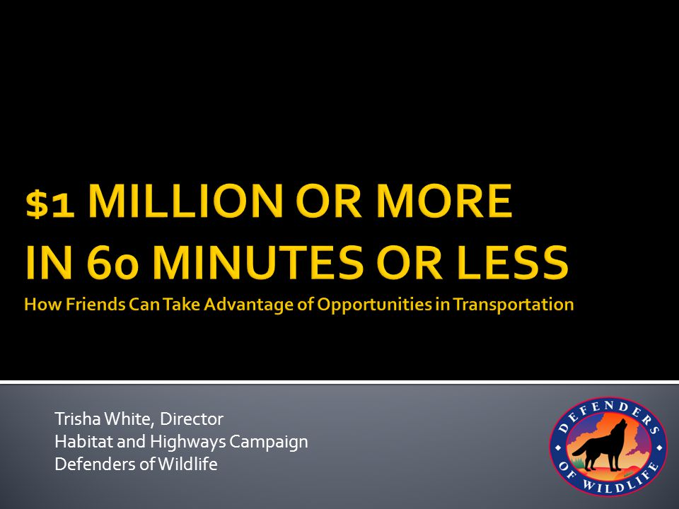 Trisha White, Director Habitat and Highways Campaign Defenders of Wildlife