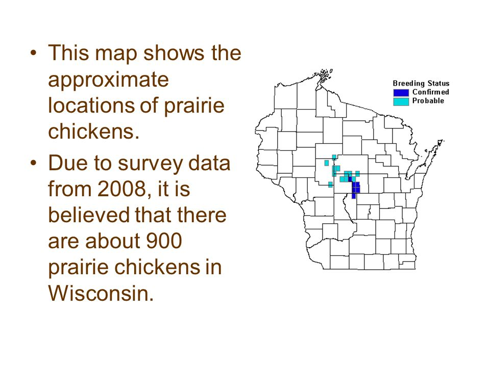 This map shows the approximate locations of prairie chickens.