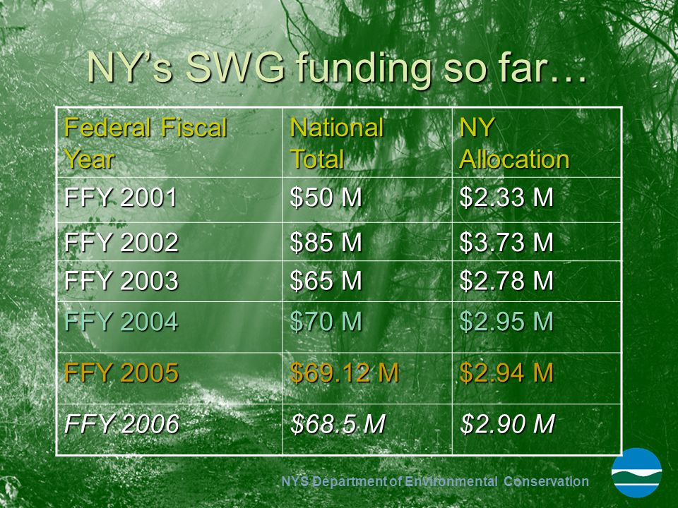 NYS Department of Environmental Conservation NY's SWG funding so far… Federal Fiscal Year National Total NY Allocation FFY 2001 $50 M $2.33 M FFY 2002