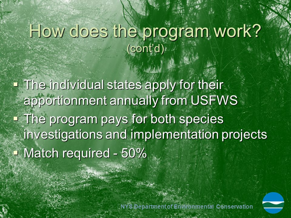 NYS Department of Environmental Conservation How does the program work? (cont'd)  The individual states apply for their apportionment annually from U