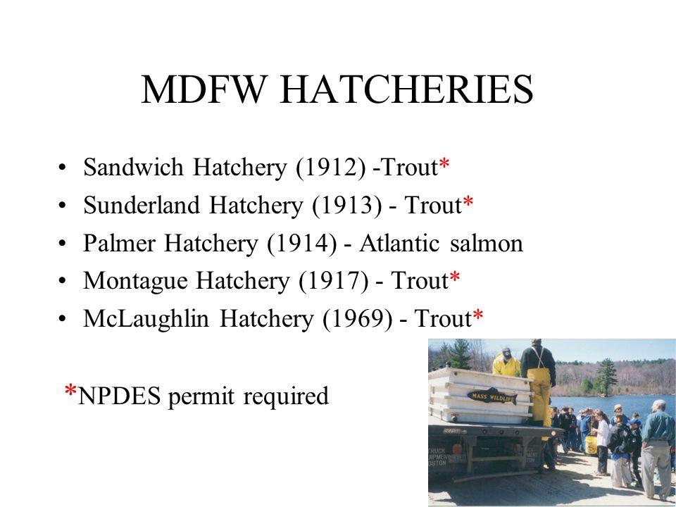 MDFW HATCHERIES Sandwich Hatchery (1912) -Trout* Sunderland Hatchery (1913) - Trout* Palmer Hatchery (1914) - Atlantic salmon Montague Hatchery (1917) - Trout* McLaughlin Hatchery (1969) - Trout* * NPDES permit required