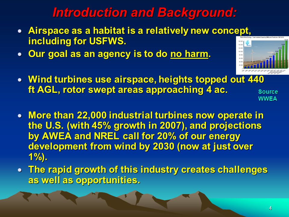 4 Introduction and Background:  Airspace as a habitat is a relatively new concept, including for USFWS.