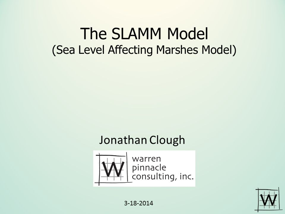 SLAMM Inundation Model Distance Inland Elevation Tidal Flat Regularly- Flooded Marsh (Often Salt Marsh) Transitional or Irregularly- Flooded Marsh Inland Fresh and Dry Land MLW MTL MHHW Salt Elev.