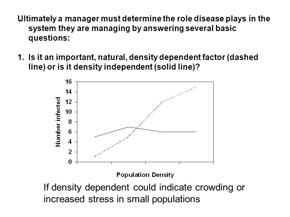 Ultimately a manager must determine the role disease plays in the system they are managing by answering several basic questions: 1.Is it an important, natural, density dependent factor (dashed line) or is it density independent (solid line).
