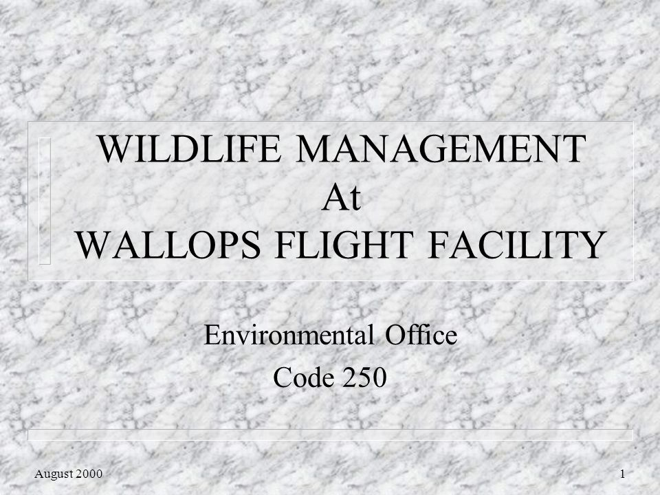 August 20002 Wildlife Management Program n Active management for years n Historical driver is airport safety n Regulatory Drivers FAA Safety Regulations and the Endangered Species Act