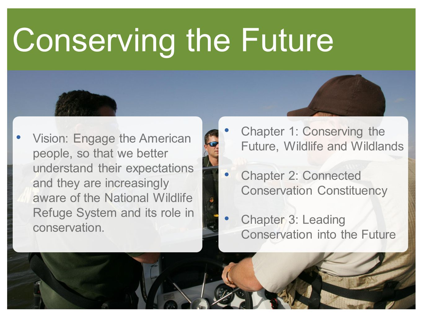 Conserving the Future Vision: Engage the American people, so that we better understand their expectations and they are increasingly aware of the National Wildlife Refuge System and its role in conservation.